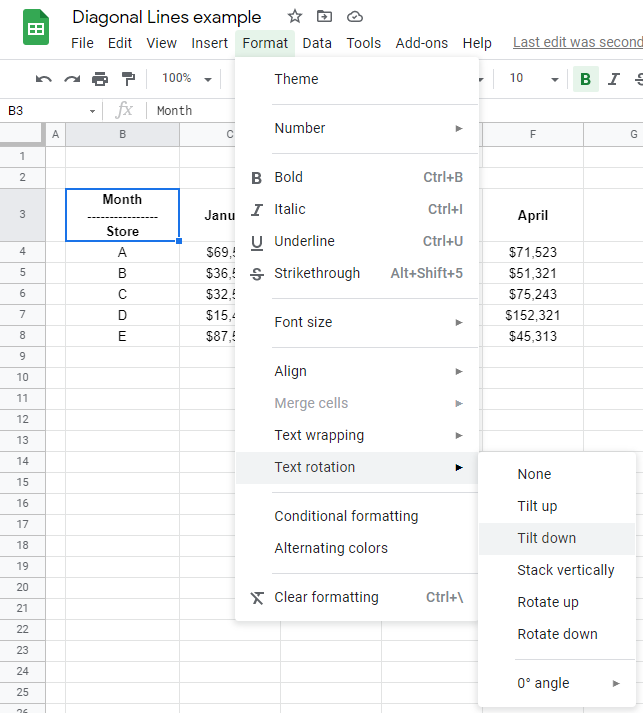 How to Insert Diagonal Line in Cell in Google Sheets - Sheetaki