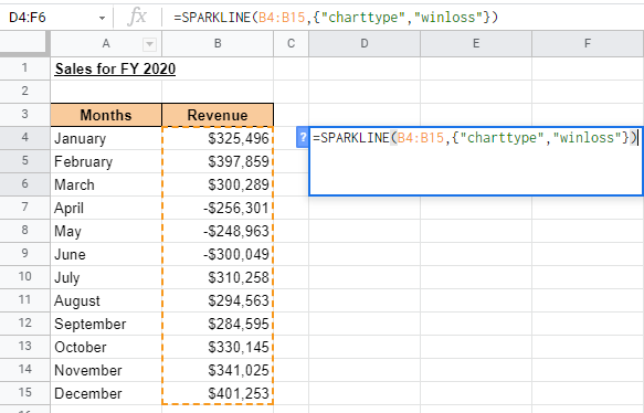 How To Use Sparkline in Google Sheets