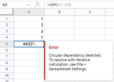 Circular Dependency Detected Error in Google Sheets? Here's The Fix!