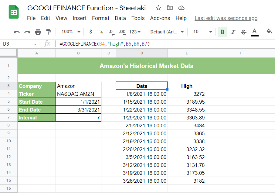 Completing the GOOGLEFINANCE function