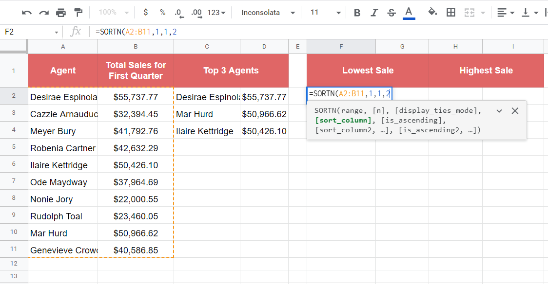 Defining the column to sort