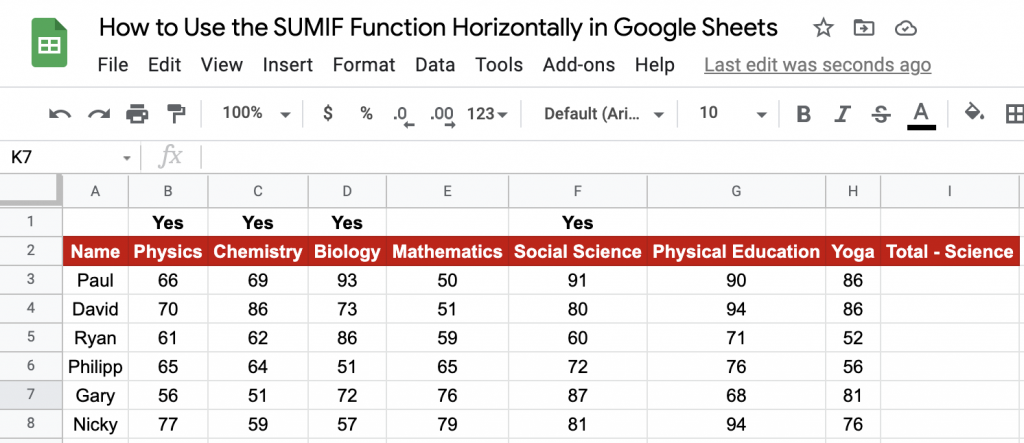 SUMIF in Google Sheets