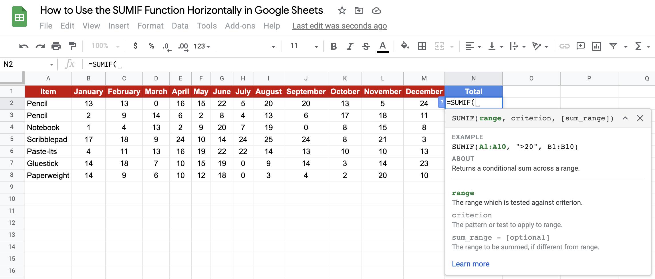 Horizontal SUMIF in Google Sheets