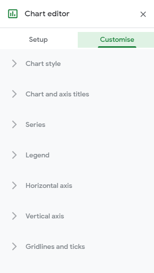 Chart Editor Customise Section