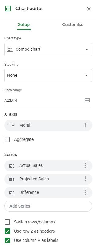 Chart Editor Setup Section