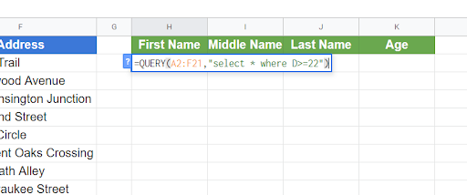 Using the QUERY function