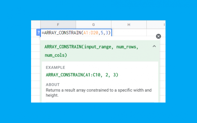 How to Use ARRAY CONSTRAIN Function in Google Sheets