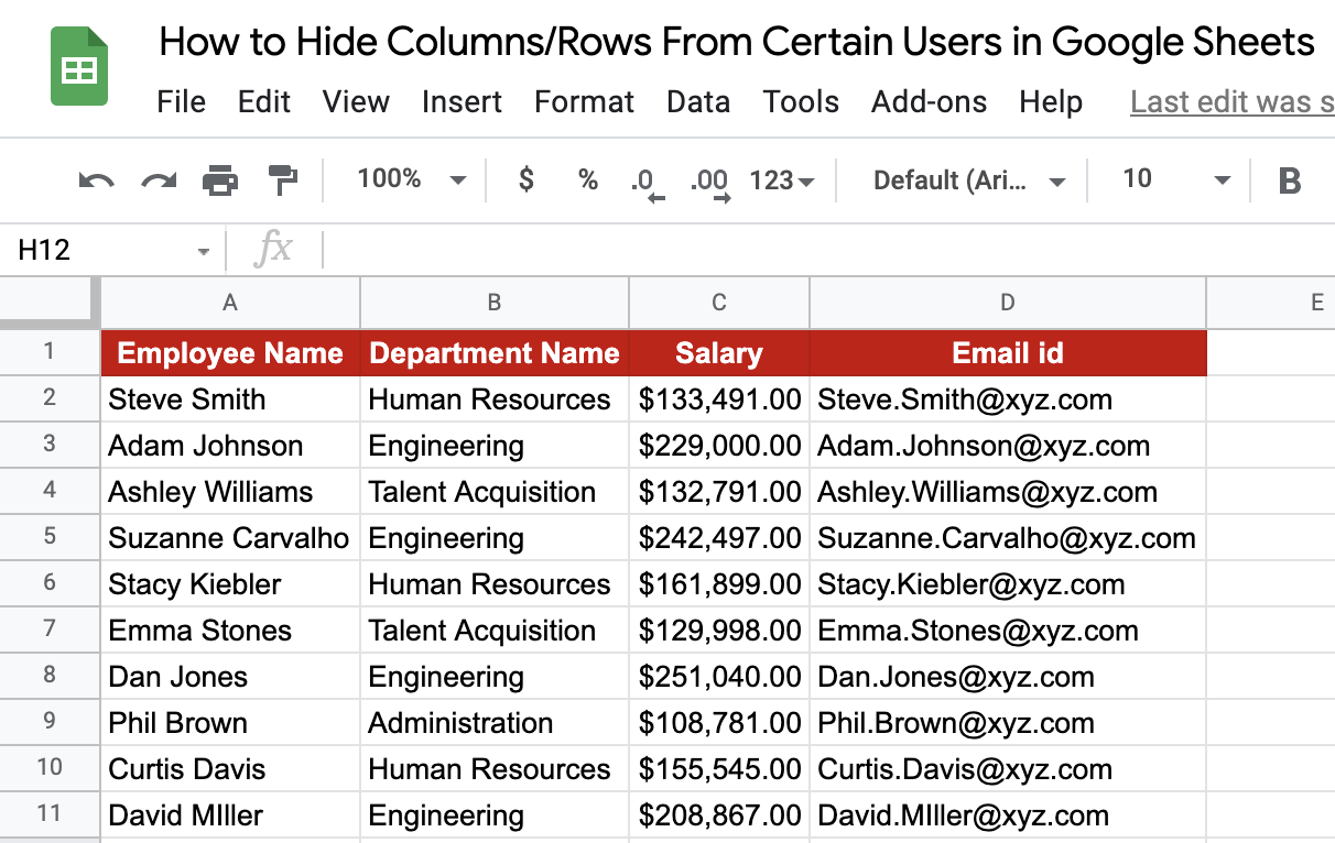 Hide Columns From Certain Users