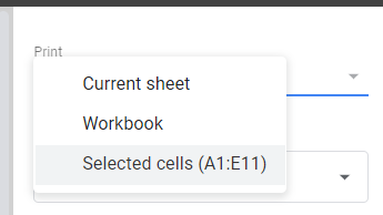 Choosing the Selected cells option