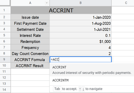ACCRINT Function Selection