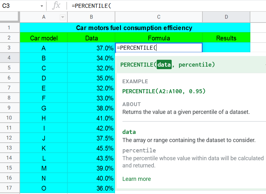 Percentile Function in Google Sheets
