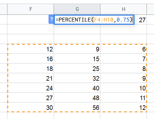 Selecting a 2-dimintional range for the PERCENTILE function
