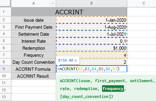 ACCRINT Function in Google Sheets