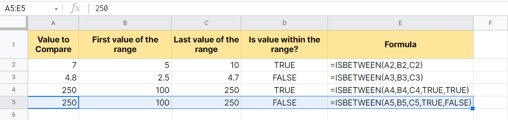 Example of ISBETWEEN function with optional parameters