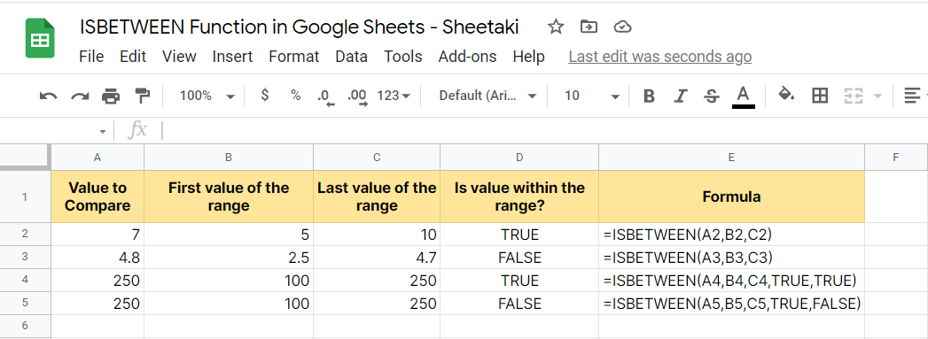 A Real Example of using ISBETWEEN Function in Google Sheets