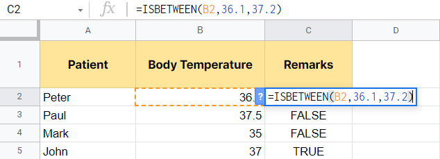 Editing the ISBETWEEN function