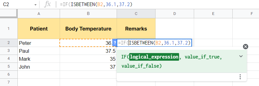 Defining the IF function