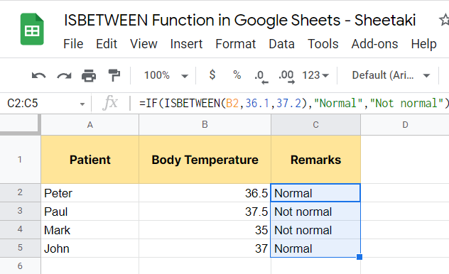 Result of combining the ISBETWEEN function with IF function