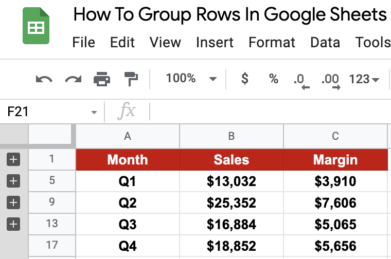Group Rows Example Output