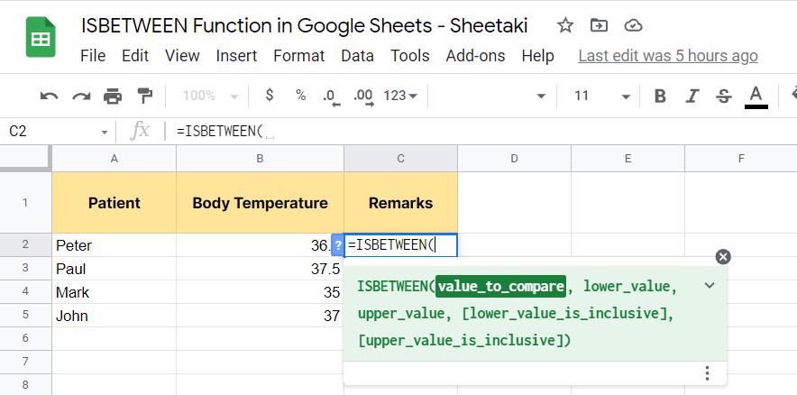 Typing the ISBETWEEN function