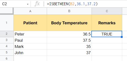 Result of the ISBETWEEN function