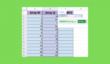 SUMXMY2 Function in Google Sheets