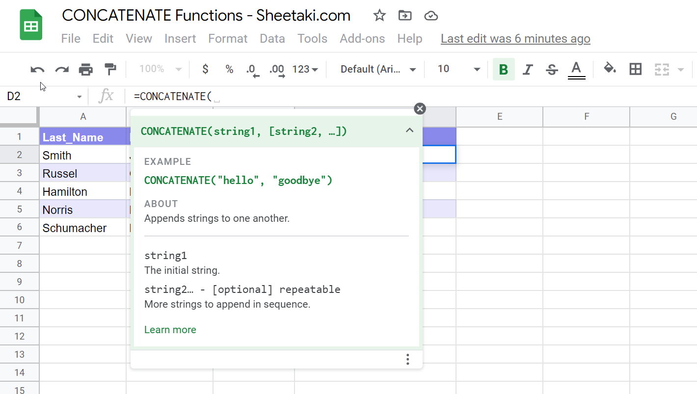 Typing CONCATENATE function into the formula bar