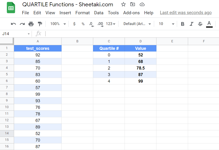 Use the Quartile function to find the different quartiles in your dataset