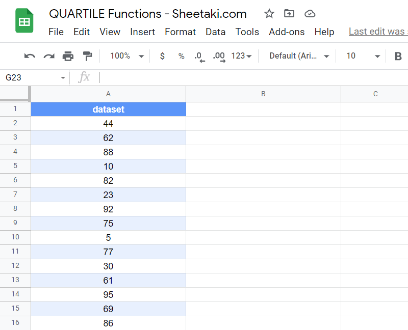 A dataset of test score values we can test on to find quartiles in Google Sheets